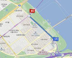 地下鉄9号線の「汝矣ナル(ヨイナル)」駅から徒歩で