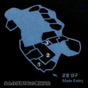 昌徳宮(チャンドックン)の地図 1番~3番(自由見学可能エリア)
