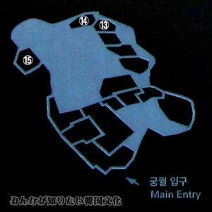 昌徳宮(チャンドックン)の地図 13番~15番(ガイドの案内による時間制エリア)