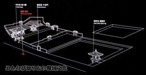 愛蓮池(エリョンチ)と倚斗閣(ウィツカク)一帯の地図