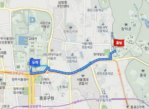 昌徳宮(チャンドックン)から景福宮(キョンボックン)への経路