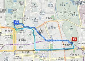 宗廟(チョンミョ)から景福宮(キョンボックン)への経路