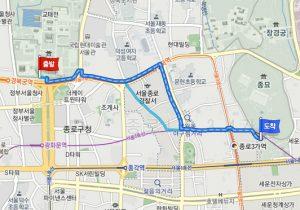 景福宮(キョンボックン)から宗廟(チョンミョ)へのアクセス
