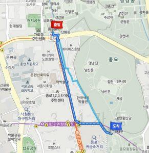 昌徳宮(チャンドックン)から宗廟(チョンミョ)へのアクセス