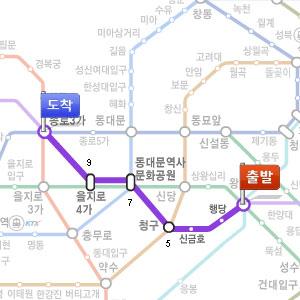 往十里(ワンシムニ)からから宗廟(チョンミョ)までの時間・料金・距離