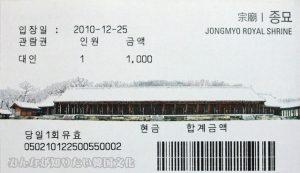 宗廟(チョンミョ)の入場券