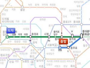 明洞(ミョンドン)から神仙(シンソン)ソルロンタン・弘大(ホンデ)店までの路線図