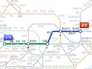 東大門(トンデムン)から神仙(シンソン)ソルロンタン・弘大(ホンデ)店までの路線図