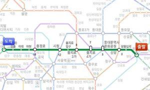 往十里(ワンシムニ)かから神仙(シンソン)ソルロンタン・弘大(ホンデ)店までの路線図